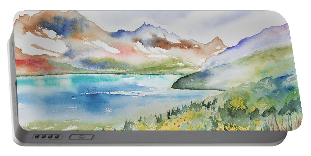 Alpine Portable Battery Charger featuring the painting Watercolor - Colorado Alpine Landscape by Cascade Colors