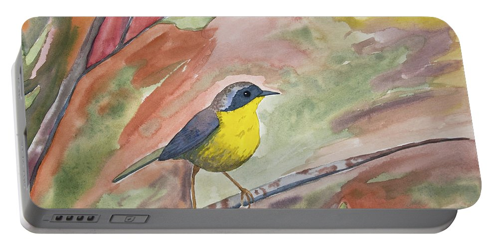 Original Watercolor Portable Battery Charger featuring the painting Watercolor - Common Yellowthroat by Cascade Colors