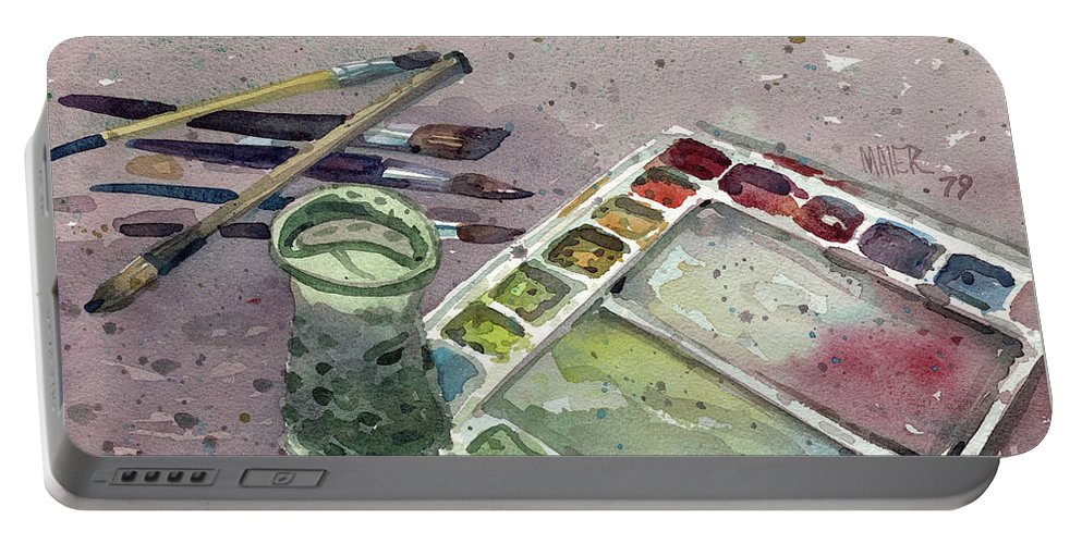 Palette Portable Battery Charger featuring the painting Watercolor by Donald Maier