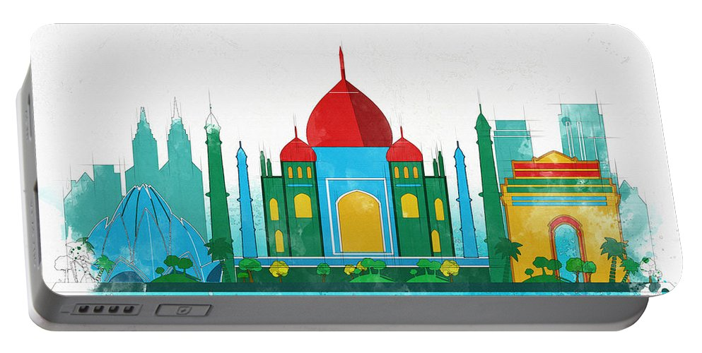 Poster Portable Battery Charger featuring the digital art Watercolor Illustration Of Delhi by Don Kuing