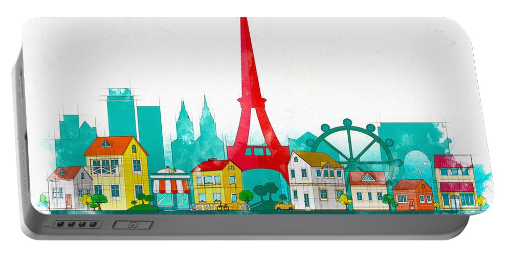 Poster Portable Battery Charger featuring the digital art Watercolor Illustration Of Paris by Don Kuing