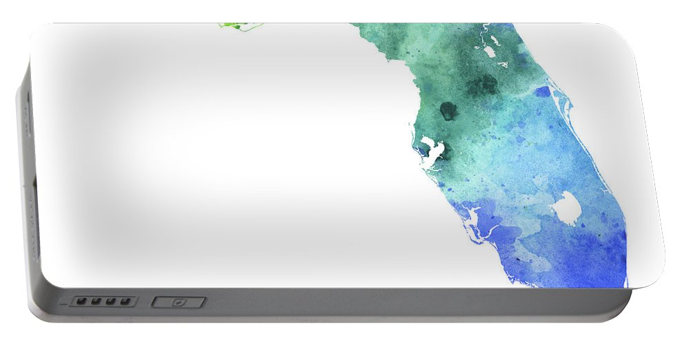 Florida Portable Battery Charger featuring the painting Watercolor Map Of Florida, In Blue And Green by Andrea Hill