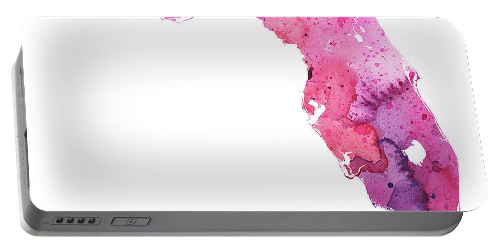 Florida Portable Battery Charger featuring the painting Watercolor Map Of Florida, In Pink And Purple by Andrea Hill