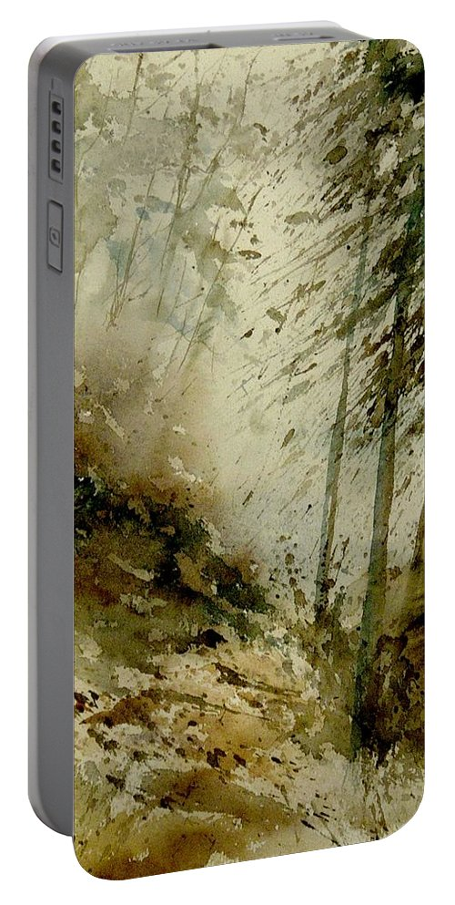 Landscape Portable Battery Charger featuring the painting Watercolor Misty Atmosphere by Pol Ledent
