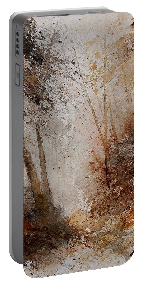 Landscape Portable Battery Charger featuring the painting Watercolor Misty Path by Pol Ledent
