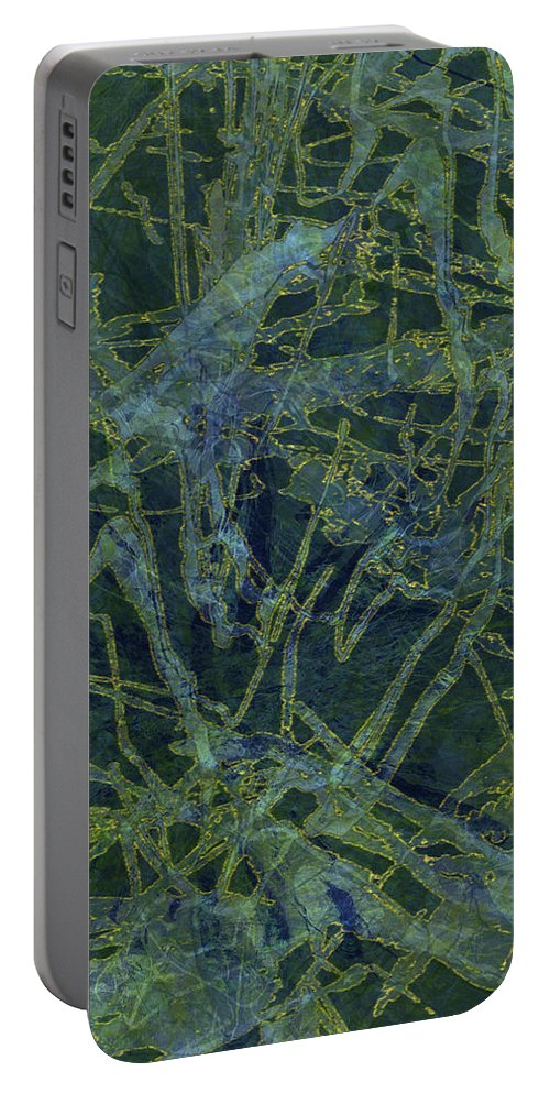 Abstract Portable Battery Charger featuring the digital art Edition 1 Watercolor Moss by Kristin Doner