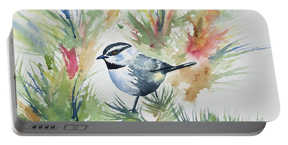 Mountain Chickadee Portable Battery Charger featuring the painting Watercolor - Mountain Chickadee And Pine by Cascade Colors