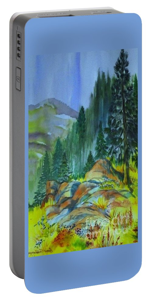 Watercolor Of Forest In Mountains Portable Battery Charger featuring the painting Watercolor of Mountain Forest by Annie Gibbons