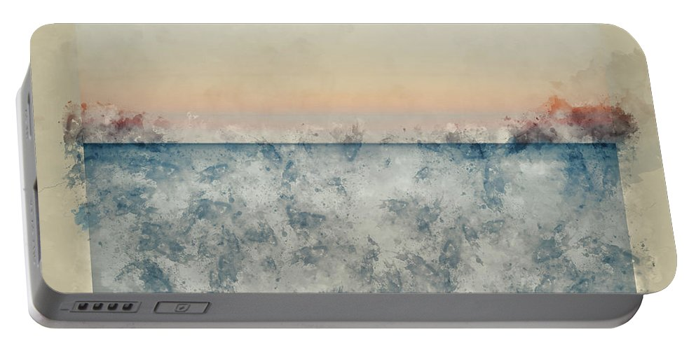 Landscape; Seascape; Sea; Ocean; Water; Waves; Ripples; Tide; Tidal; Flow; Long Exposure; Motion Blur; Blue; Orange; Calm; Peaceful; Tranquil; Serene; Concept; Conceptual; Sunset; Sundown; Evening; Dusk; Art; Artistic; Effect; Filter; Lines; Watercolor; Watercolour; Painting; Art; Artistic; Paper; Texture; Medium; Effect; Filter; Creative; Brushstrokes; Technique; Method Portable Battery Charger featuring the photograph Watercolor Painting Of Beautiful Seascape Image Of Calm Ocean At Sunset by Matthew Gibson