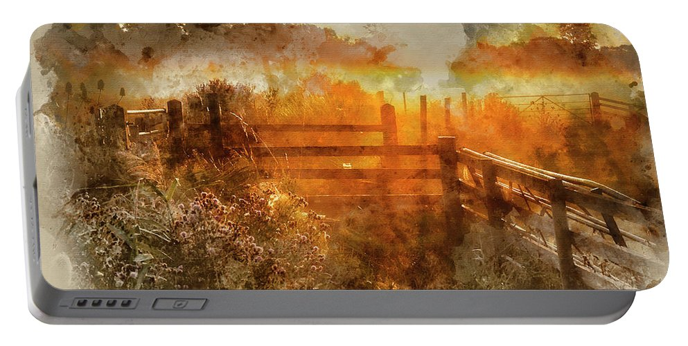 Landscape; Countryside; Rural; Sunrise; Dawn; Morning; Glow; Colorful; Vibrant; Orange; Gold; Golden; Sunlight; Sunny; Field; Dew; Fence; Gate; Backlit; Backlighting; Nature; Beautiful; England; English; Mist; Misty; Fog; Foggy; Summer; Season; Seasonal; Watercolor; Watercolour; Painting; Art; Artistic; Paper; Texture; Medium; Effect; Filter; Creative; Brushstrokes; Technique; Method Portable Battery Charger featuring the photograph Watercolor Painting Of Beautiful Sunrise Landscape Over Foggy English Countryside With Glowing Sun by Matthew Gibson