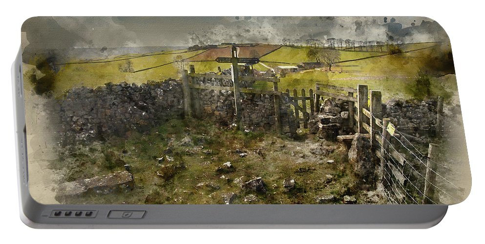 Landscape Portable Battery Charger featuring the photograph Watercolor Painting Of Public Footpath Signposts In Landscape In by Matthew Gibson