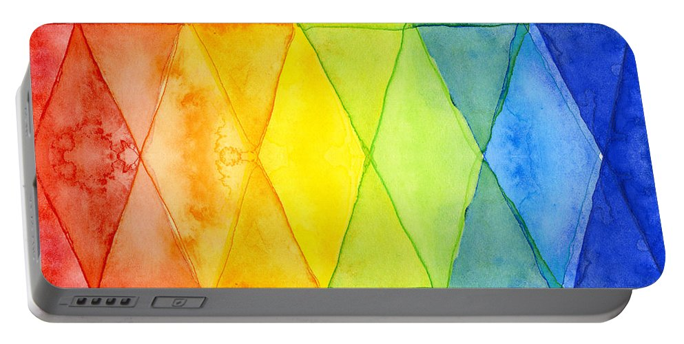 Triangles Portable Battery Charger featuring the painting Watercolor Rainbow Pattern Geometric Shapes Triangles by Olga Shvartsur