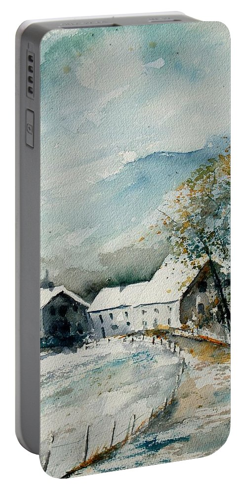 River Portable Battery Charger featuring the painting Watercolor Sechery 1207 by Pol Ledent