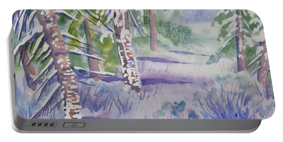 Path Portable Battery Charger featuring the painting Watercolor - Snowy Winter Path by Cascade Colors