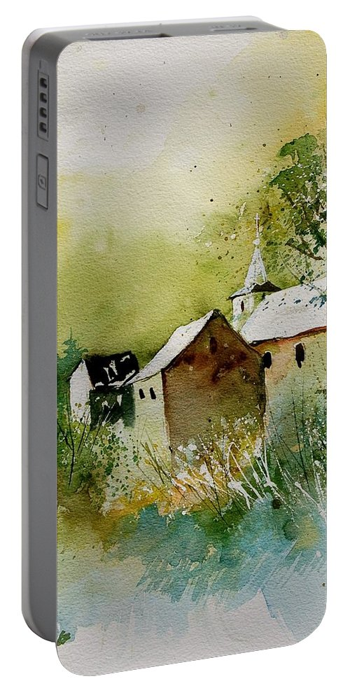 Landscape Portable Battery Charger featuring the painting Watercolor Sosoye by Pol Ledent