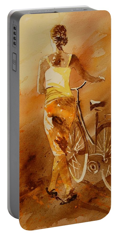 Figurative Portable Battery Charger featuring the painting Watercolor With My Bike by Pol Ledent