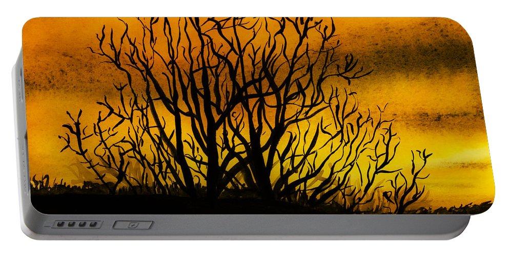Landscape Portable Battery Charger featuring the painting Watercolour Sunset by Svetlana Sewell