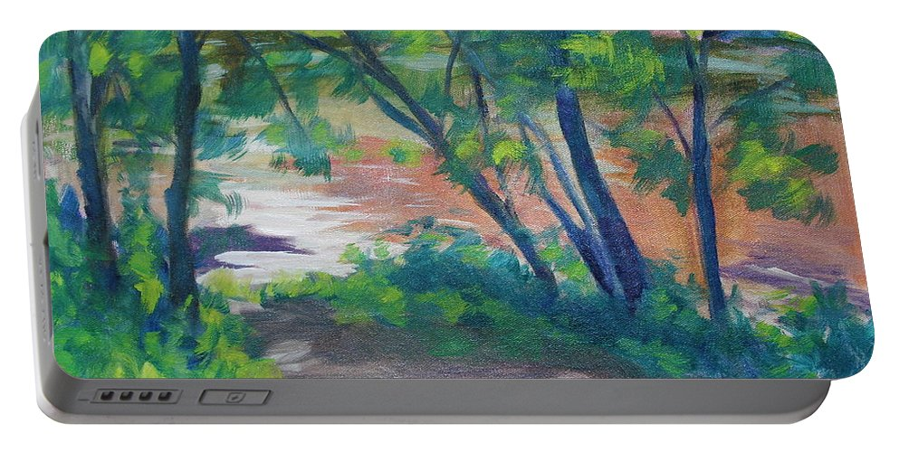 Landscape Portable Battery Charger featuring the painting Watercress Beach On The Current River  by Jan Bennicoff