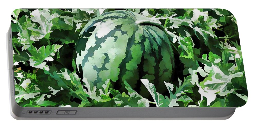 Bio Portable Battery Charger featuring the painting Waterelons In A Vegetable Garden by Jeelan Clark