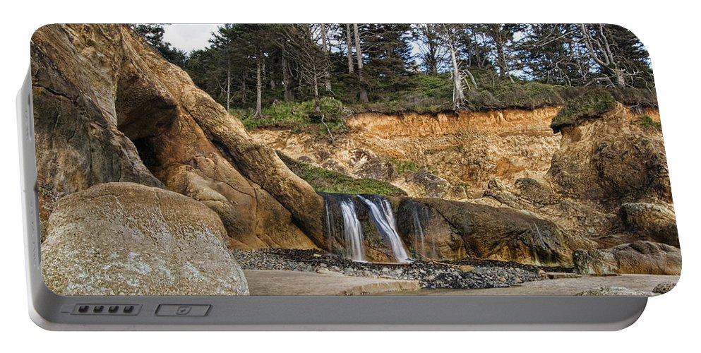 Oregon Portable Battery Charger featuring the photograph Waterfall At Hug Point State Park Oregon by Renee Hong