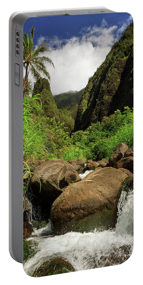 Waterfall Portable Battery Charger featuring the photograph Waterfall At The Iao Needle by James Eddy
