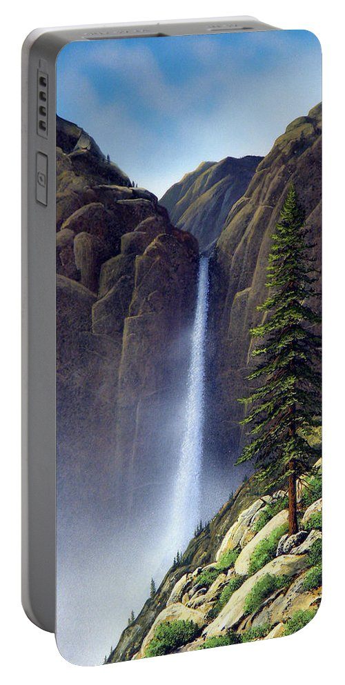 Wilderness Portable Battery Charger featuring the painting Waterfall by Frank Wilson