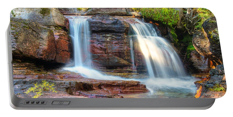 Glacier National Park Portable Battery Charger featuring the photograph Waterfall by Gary Lengyel