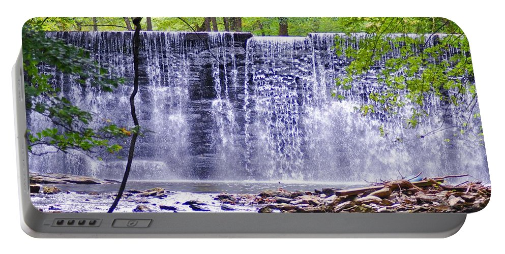 Waterfall Portable Battery Charger featuring the photograph Waterfall In Gladwyne by Bill Cannon