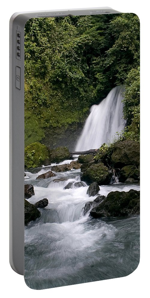 Costa Rica Portable Battery Charger featuring the photograph Waterfall In La Fortuna by Patricia Bolgosano