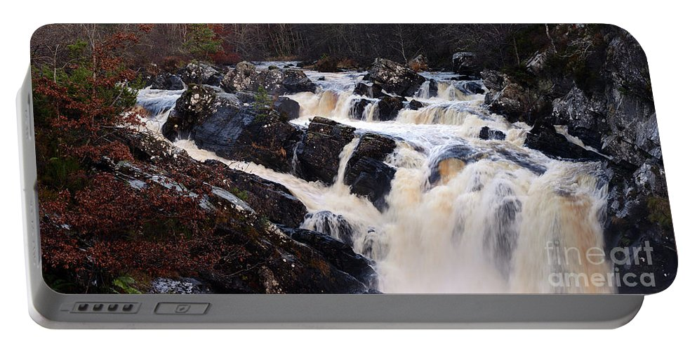 Waterfall Portable Battery Charger featuring the photograph Waterfall In Scotland by Kate Sadler