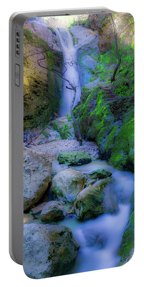 Waterfall. Dreamy. Nature. Landscape. Winter. Peaceful. Portable Battery Charger featuring the photograph Waterfall In Soft Dream. by Yau Ming Low