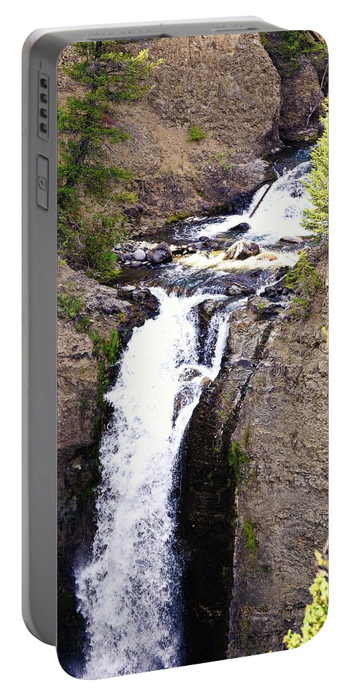 River Portable Battery Charger featuring the photograph Waterfall In Yellowstone by La Dolce Vita