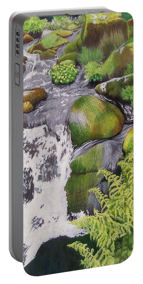 Waterfall Portable Battery Charger featuring the mixed media Waterfall On Skye by Constance Drescher