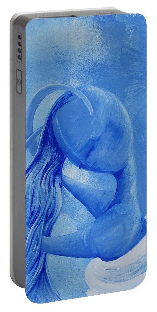 Waterfall Portable Battery Charger featuring the painting Waterfall Rainbow Soul Collection by Catt Kyriacou