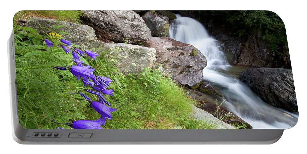 Wild Portable Battery Charger featuring the photograph Waterfalls And Bluebells by Mircea Costina Photography