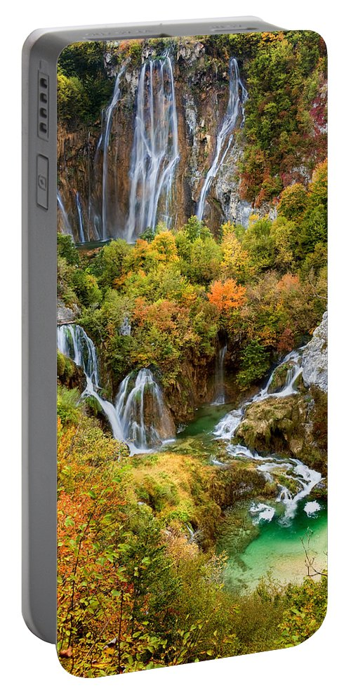 Waterfall Portable Battery Charger featuring the photograph Waterfalls In Plitvice Lakes National Park by Artur Bogacki