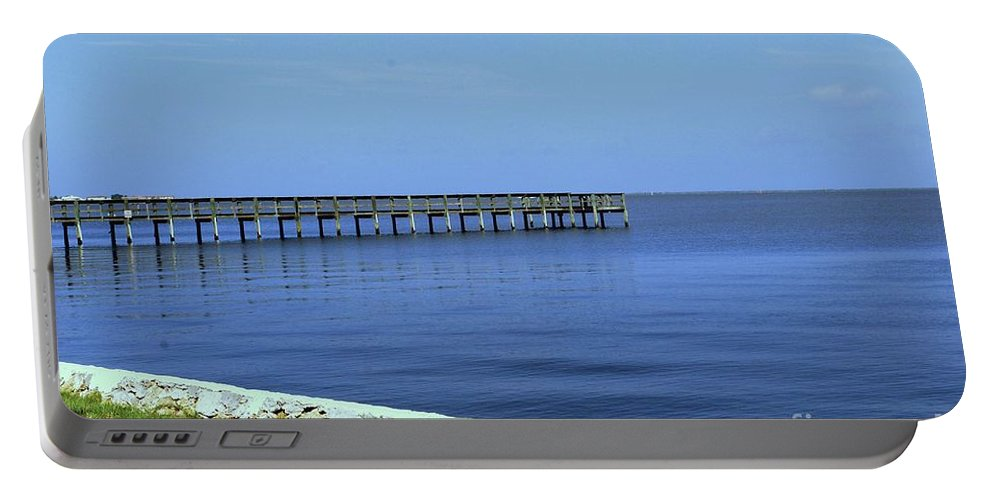 Pier Portable Battery Charger featuring the photograph Waterfront Pier by Gary Wonning