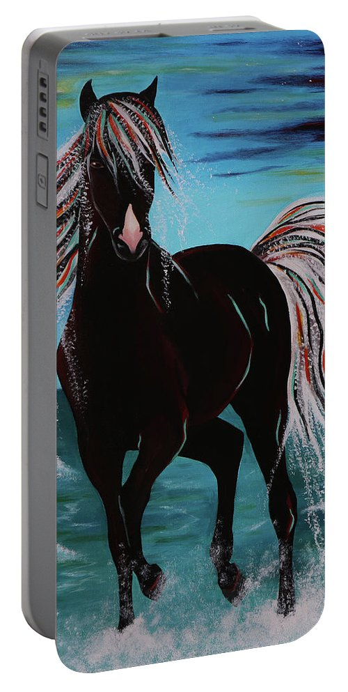Horse Portable Battery Charger featuring the painting Waterhorse by Nicole Paquette