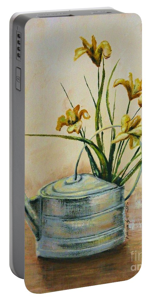 Still Life Portable Battery Charger featuring the painting Watering Can by Marilyn Smith
