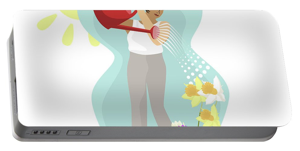 Tulips Portable Battery Charger featuring the digital art Watering Plants by Claire Huntley