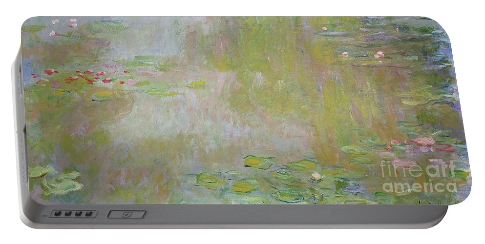 Waterlilies At Giverny Portable Battery Charger featuring the painting Waterlilies at Giverny by Claude Monet