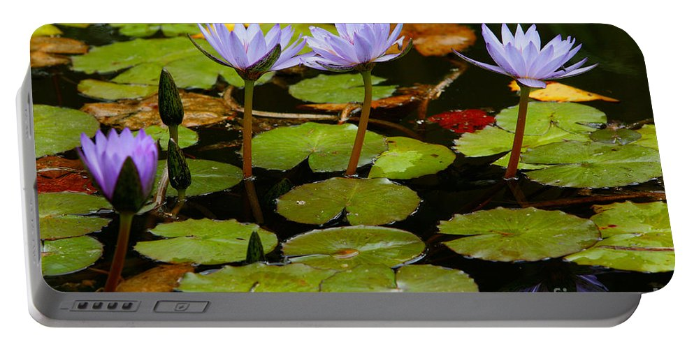 Pond Portable Battery Charger featuring the photograph Waterlilies by Gaspar Avila