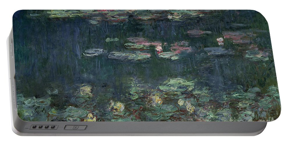 Monet Portable Battery Charger featuring the painting Waterlilies Green Reflections by Claude Monet