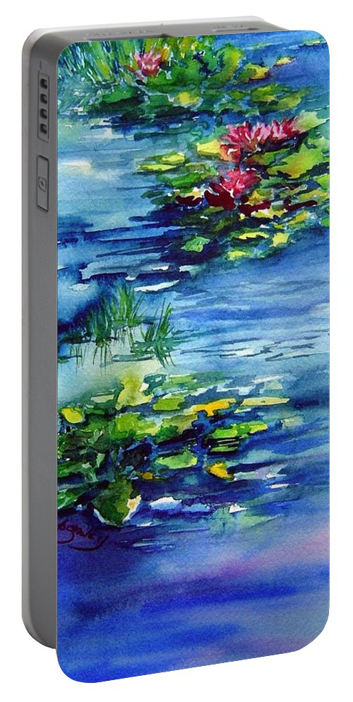 Waterlilies Portable Battery Charger featuring the painting Waterlilies by Joanne Smoley