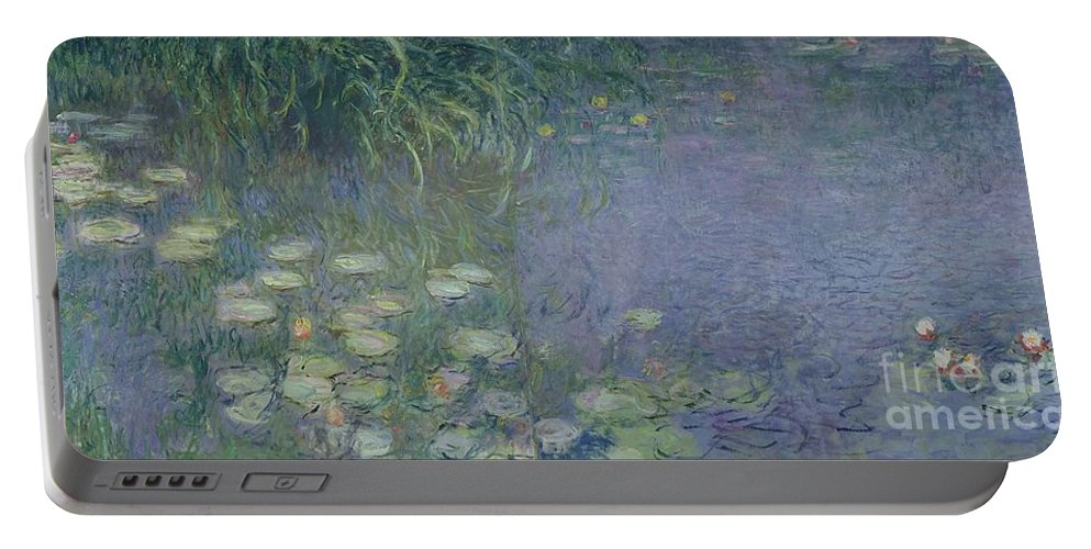 Impressionist;nympheas;matin;quadriptych;water;lily;lilies;waterlily Portable Battery Charger featuring the painting Waterlilies Morning by Claude Monet