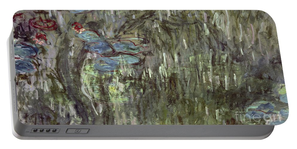 Waterlilies With Reflections Of Willows Portable Battery Charger featuring the painting Waterlilies With Reflections Of Willows by Claude Monet