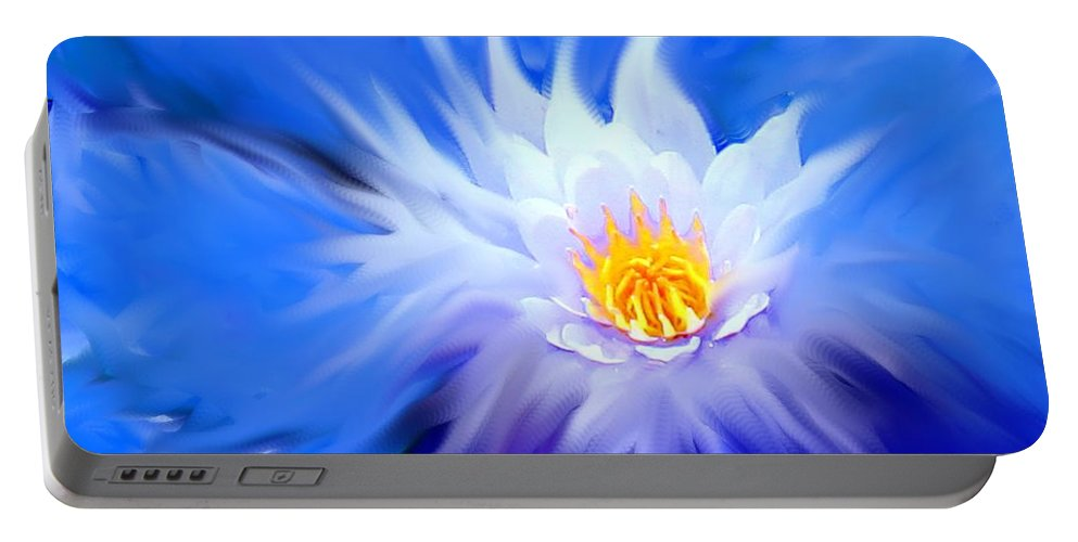 Blue Portable Battery Charger featuring the digital art Waterlillies Transformed by Ian MacDonald