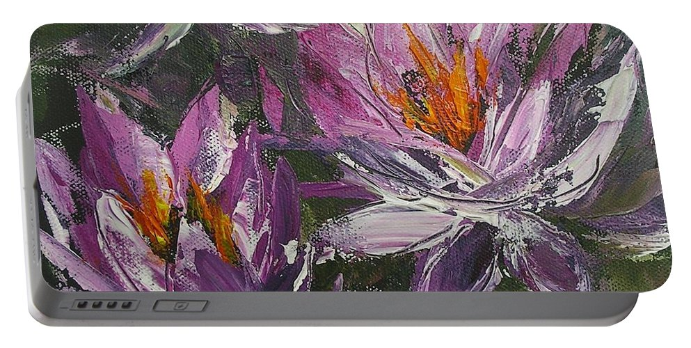 Flower Paintings Portable Battery Charger featuring the painting Waterlilly by Chris Hobel