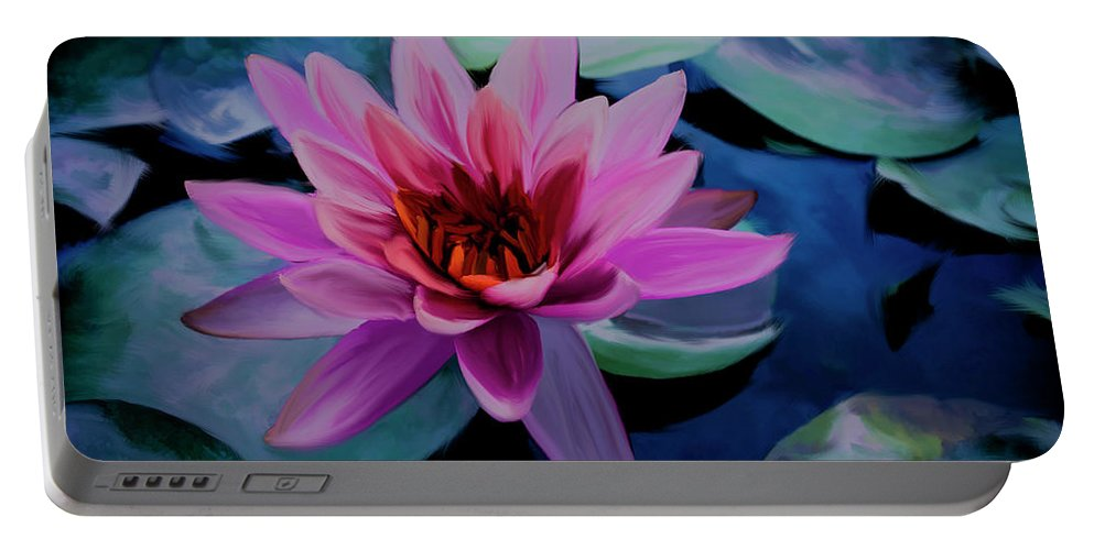 Brigitte Harper Portable Battery Charger featuring the painting Waterlily by Brigitte Harper
