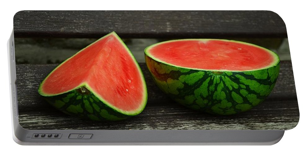 Melon Portable Battery Charger featuring the photograph Watermelon by FL collection